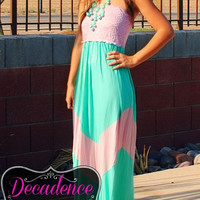 EVERLY LACED PINK & MINT CHEVRON MAXI DRESS