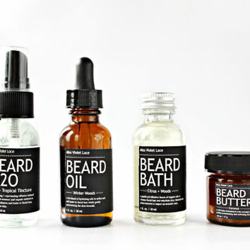 MEN'S GROOMING SET. beard H2O spray + beard oil + beard bath wash + beard butter balm. 100% natural beard care set.