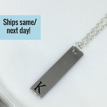 Letter Charm Necklace, Letter Bar Necklace, Letter Pendant Necklace, Letter Necklace, Initial Necklace, Bar Necklace, Letter Bar Necklace