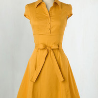 Vintage Inspired Mid-length Cap Sleeves A-line Soda Fountain Dress in Ginger
