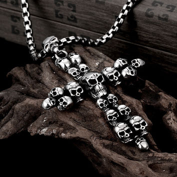 Skull Cross Stainless Steel - Necklace