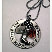 JBK Custom hand stamped My Heart Belongs to a Cowboy necklace