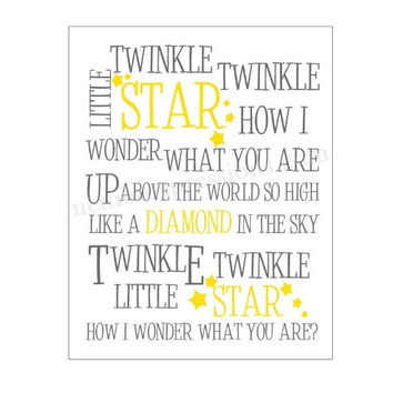 Twinkle twinkle little star, how I wonder what you are – 8×10 Lullaby Art Print