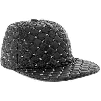 Valentino - Rockstud quilted glossed textured-leather cap