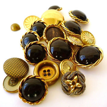 Vintage Buttons - 20 Assorted Several Sizes - Golden and Black