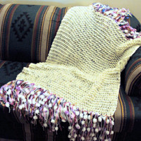 Hand Knit Bohemian Fringe Throw Blanket Home and Living Hand Knit Afghan Sofa Throw Lap Blanket Wedding Accessories Ready to Ship