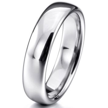 Women,Men's Wide 6mm Tungsten ring Band Silver Comfort Fit Classic Wedding Plain Dome Polished Size 4-16 Free Shipping