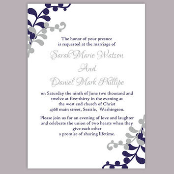 DIY Wedding Invitation Template Editable Word File Instant Download Printable Invitation Silver Gray Wedding Invitation Navy Blue Invitation