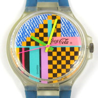 Swatch Coca Cola Watch Mens Ms. Neon Used in box Vintage1989