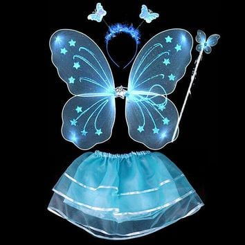 4Pcs Kids girls Fairy Princess Costume Sets colorful stage wear Butterfly Wings Wand Headband Tutu Skirts