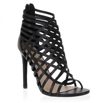 Madina Caged Stilettos in Black