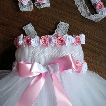 White tutu dress – baby tutu dress – flower girl tutu dress – roses tutu dress –lace tutu dress – wedding tutu dress – birthday party tutu