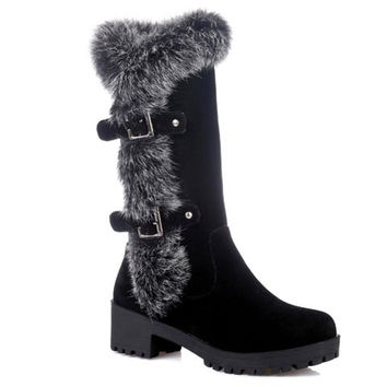 Side Faux Fur Design Mid-Calf Boots With Buckle