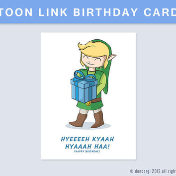 Printable Legend of Zelda Birthday Card - INSTANT DOWNLOAD - 300 dpi - jpeg/pdf files - cmyk