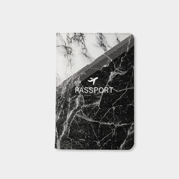 Black white marble passport holder personalized passport cover passport holder leather passport case valentines day gift boyfriend gifts