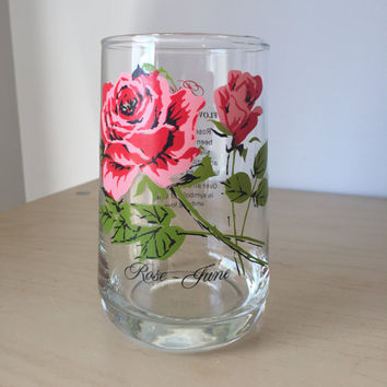 Vintage Flower of the Month Series Drinking Glass, June Roses, Red Pink Floral Glass Cup, Birthday Gift