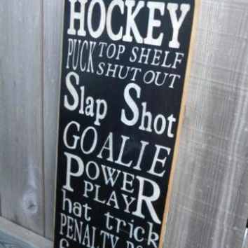 Hockey Typography Sign subway sign