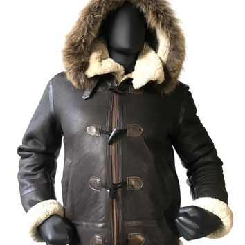 Shearling Sheepskin Aviator Jacket-B3 With Toggles Сlasp Style #8010 MENS