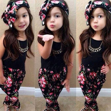 3pcs Toddler Baby Girls Outfits Clothes Sets Vintage Brief Headband + T-shirt + Flower Pants Tops Kids Clothes 1 2 3 4 5 6 7 8T