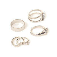 FOREVER 21 Shapes Midi Ring Set Silver/Clear