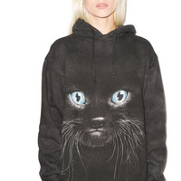 Mountain Black Kitten Face Hoodie Multi