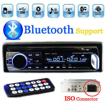 1-DIN 12V Universal Stereo MP3 Player/FM/SD/MMC/AUX/USB/Bluetooth In-Dash Car Radio w/ ISO Port