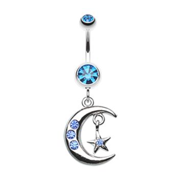 Blue Glistening Moon and Star Belly Button Ring Navel Ring Body Jewelry
