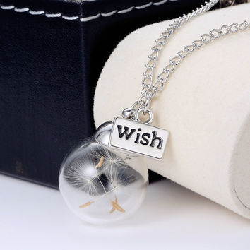 Make A Wish Glass long necklace