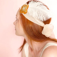 Gatsby headband Vintage sequins with blushing silk and ostrich feather