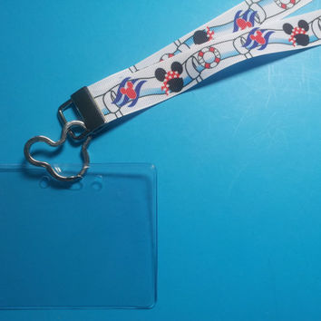 Disney KTTW Card Holder/Lanyard  - Pirate Mickey - Aquaduck - Non-scratchy - Child or Adult