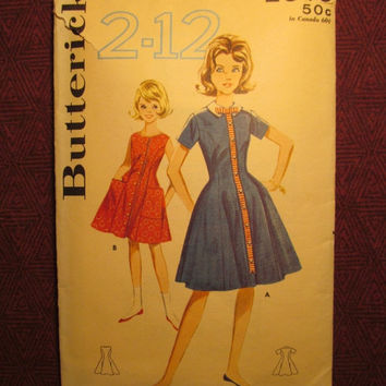 SALE Complete 1950's Butterick Sewing Pattern, 2646! Size 4 Girls/Toddler/Kids/Child/Princess Dress/Front Button Up/Detachable Collar/Sleeve