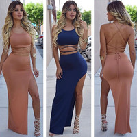 Women's Fashion Sleeveless Spaghetti Strap Backless High Rise Split Irregular Skirt Set [4919917572]