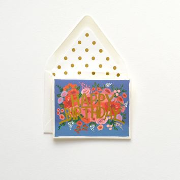 THE FIRST SNOW BLUE FLORAL HAPPY BIRTHDAY CARD