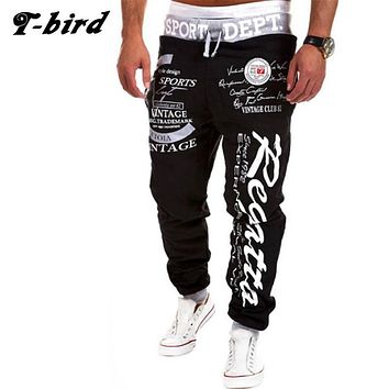 T-bird New Arrived 2017 Brand Casual Joggers Letter Printing Compression Pants Men Cotton Trousers Calabasas Sweatpants Mens 3XL