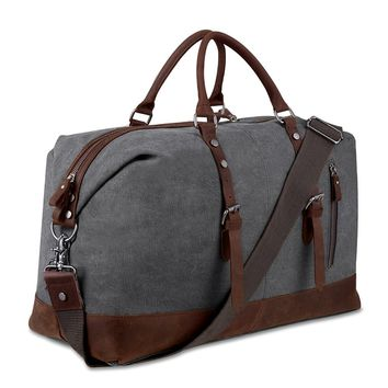 Canvas and leather Overnight Bag Travel Duffel bag weekender holdall carry-on