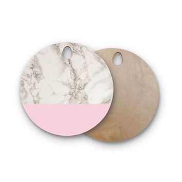 "Suzanne Carter ""Marble And Pink Block"" Modern Contemporary Round Wooden Cutting Board"