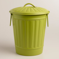 Large Green Retro Metal Trashcan