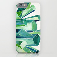 Emerald Watercolor iPhone & iPod Case by Cat Coquillette