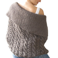 Brown Cable Knit Cardigan by Afra