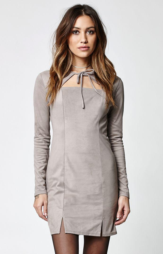 e8b0adc4731 Kendall   Kylie Faux Suede Tie Front Dress - Womens Dress - White