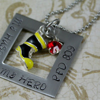 "Hand Stamped Personalized Stainless Steel Firefighter's Wife Necklace. ""My Husband, My Hero"""