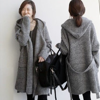Fashion hooded knitting cardigan sweater coat