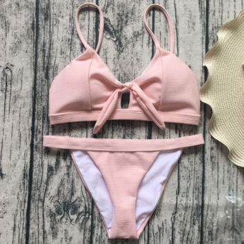 Fashion sexy holler bowknot swimsuit knot pure color sexy two-piece suit bikini