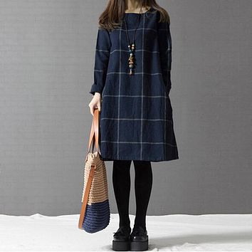 ZANZEA Winter Autumn Dress Vestidos Women Casual Plaid&Check Cotton Linen Vintage Long Sleeve Pockets Loose Dresses Plus Size