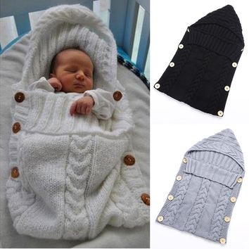 Baby Infant Swaddle Wrap Warm Wool Blends Crochet Knitted Hoodie Swaddling Wrap Blanket Sleeping Bag