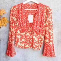 Free People - Lady Bohemian Button Front Floral Printed Blouse - Red