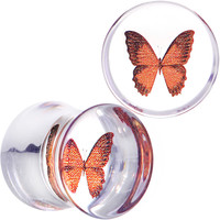 0 Gauge Clear Acrylic Orange Butterfly Double Flare Saddle Plug Set