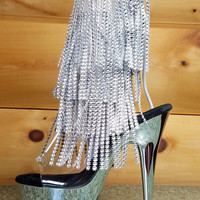 "Delight 1017 RSF Silver Chrome Rhinestone Facet Fringe 6"" High Heel Shoe 5-11"