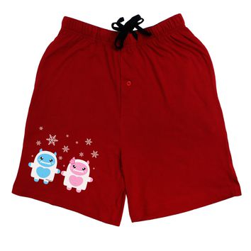 Cute Abominable Snowman Yeti Couple - Christmas Adult Lounge Shorts - Red or Black by TooLoud