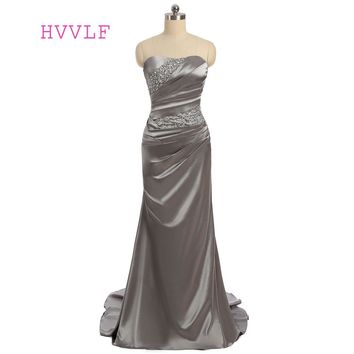 Gray 2018 Prom Dresses Mermaid Sweetheart Sweep Train Satin Beaded Sexy Long Prom Gown Evening Dresses Evening Gown